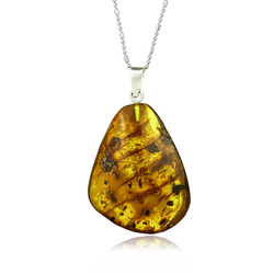 Genuine Amber Silver Pendant From Mexico
