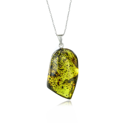 Genuine Amber Silver Pendant With Silver