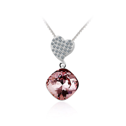 Swarovski Crystals Amethyst Color Sterling Silver Heart Pendant