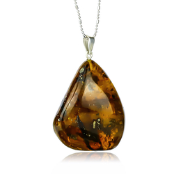 Sterling Silver Pendant With Genuine Amber
