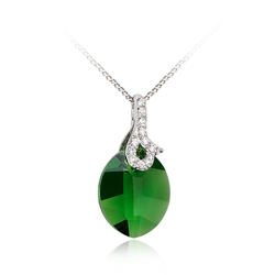 Sterling Silver Emerald Green Swarovski Crystal Pendant