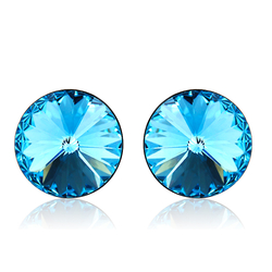 Swarovski Crystal Blue Round Stud Earrings