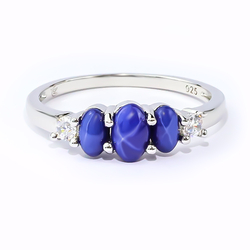 Elegant 3 Blue Star Sapphire 925 Sterling Silver Ring