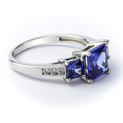 3 Stone Tanzanite Ring in 925 Sterling Silver