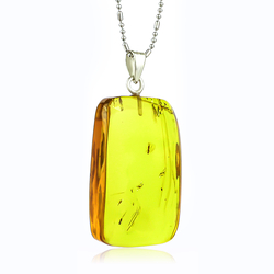 Natural Amber Baby Fly Sterling Silver Pendant 37mm x 20mm