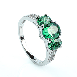 Beautiful Silver Ring with 3 Stone Alexandrite (Blue / Green)
