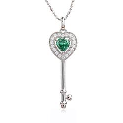 Silver Pendant Heart Key Pendant With Alexandrite