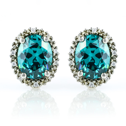 Alexandrite Oval Cut Silver Stud Earrings