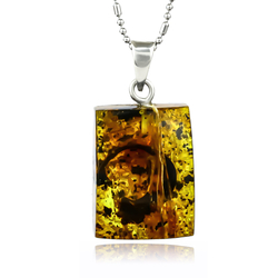 Natural Amber Sterling Silver Pendant 32mm x 14mm