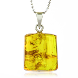 Very Rare Genuine Amber Insect Parts Sterling Silver Pendant 25mm x 10mm