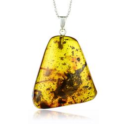 Natural Amber Silver Pendant