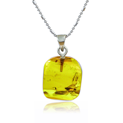 Genuine Amber Sterling Silver Mosquito Pendant 24 mm x 15 mm