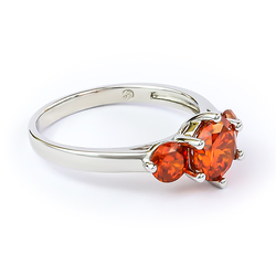 3 Stone Fire Opal Ring