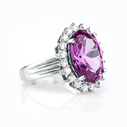 Oval Cut Alexandrite Ring in Sterling Silver