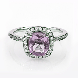 Micro Pave Alexandrite Gemstone .925 Silver Ring Blue To Purple
