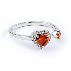 Beautiful Double Fire Opal Ring in 925 Sterling Silver Heart