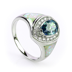 Beautiful Opal with Alexandrite Silver Ring