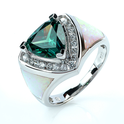 Sterling Silver Ring with Great Alexandrite Gemstone, white Opal and Zirconias