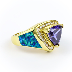 Australian Opal Ring with Tanzanite 14k Gold Plated Sterling Silver