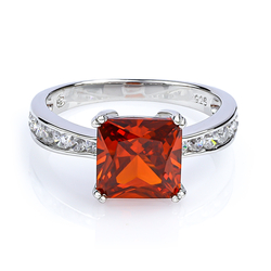 Square Cut Mexican Cherry Opal Ring in .925 Silver