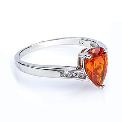 Fire Opal Pear Cut Gemstone .925 Silver Ring