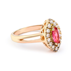 Red Ruby Silver Rose Gold Plating Ring