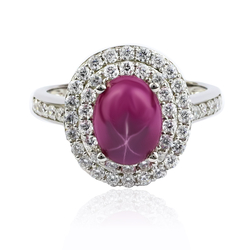 Oval Cabuchon Star Ruby Ring With Silver 925