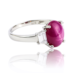 Star Ruby Ring With Silver 925