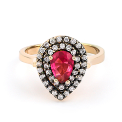 Red Ruby Silver Gold Plating Ring
