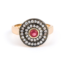 Round Cut Ruby Ring with Rose Gold Plated Silver