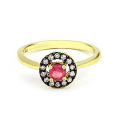 Luxuries Ruby Gold Plated Silver Ring