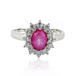 Ruby Star With Simulated Diamonds