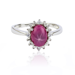 Star Ruby Ring in Silver .925