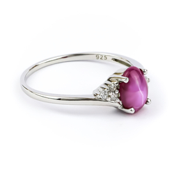 Solitaire Ruby Ring Sterling Silver 925