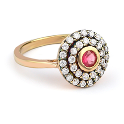 Ruby Gold Plated Silver Ring