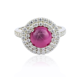 Beautiful Star Ruby Pave Ring