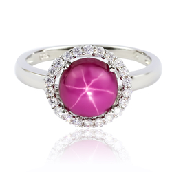 Round Cabuchon Star Ruby Ring With Silver 925