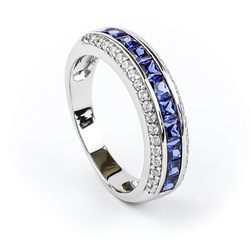 Sterling Silver Stackable Ring with Tanzanite