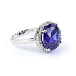 Huge Sterling Silver Ring with Tanzanite