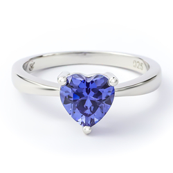 Solitaire Tanzanite Ring Sterling Silver 925 Heart