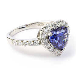Heart Engagement Ring in Silver With Tanzanite