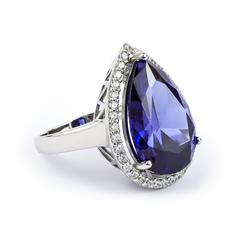 Very Large .925 Silver Pear Cut Tanzanite Ring