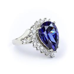 Tanzanite Pear Cut Sterling Silver Ring