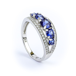 Sterling Silver Tanzanite Stackable Ring