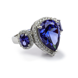 3 Tanzanites Stone Sterling Silver Ring