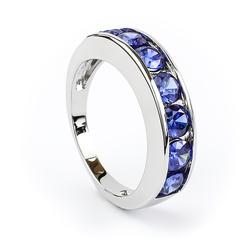 Sterling Silver Ring with Tanzanite Journey Ring