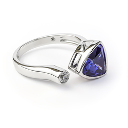 Sterling Silver Ring with Trillion Cut Tanzanite