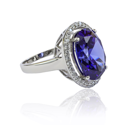 .925 Silver Oval Cut Tanzanite Ring