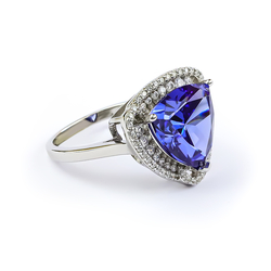 Large Tanzanite Ring In Silver