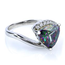 Trillion Cut Mystic Topaz Ring in Sterling Silver